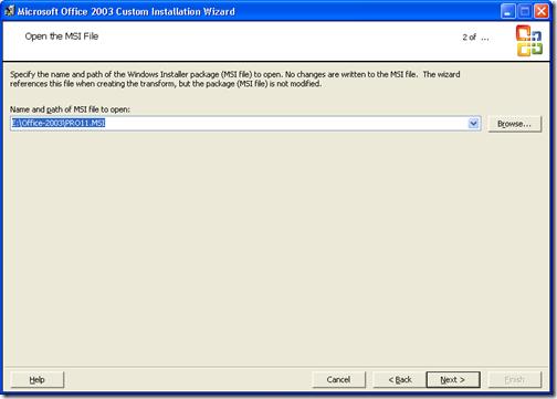 Microsoft Custom installation wizard