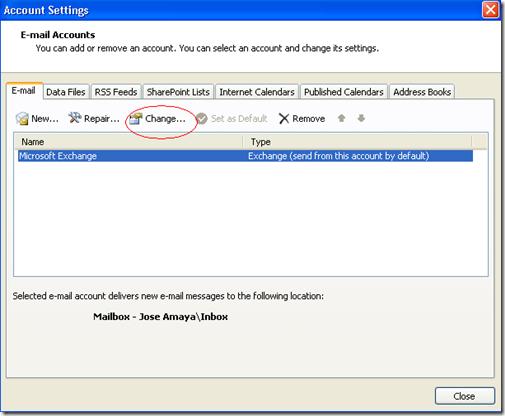 Outlook 2007 Change settings
