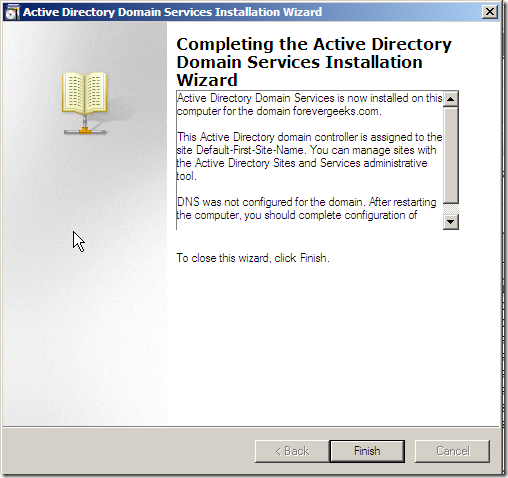 active directory finish