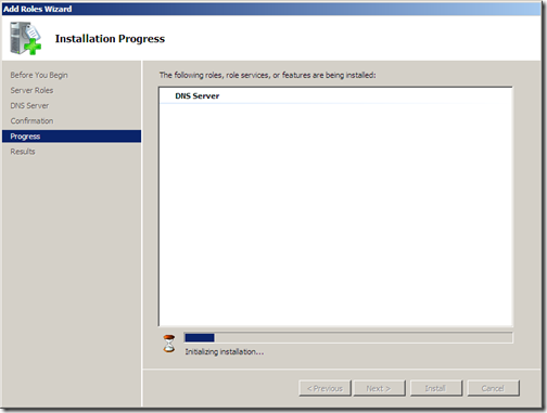 Installing DNS progress