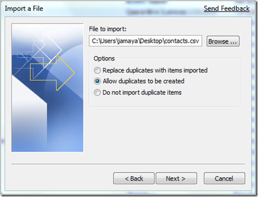 File to import