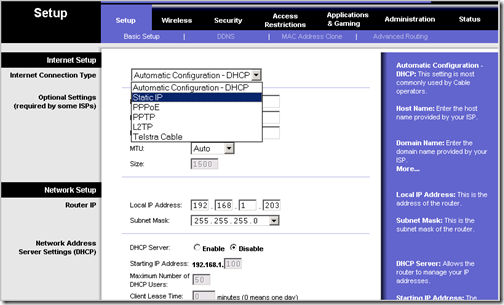 Configure A Linksys Router with a Static IP Address