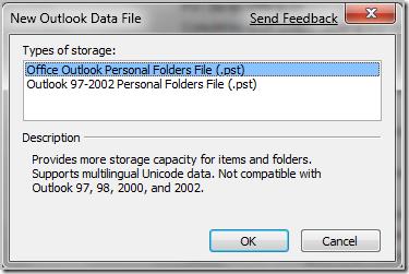 new outlook data file