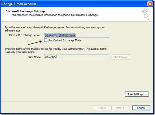 Microsoft Exchange Settings