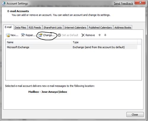 microsoft exchange how to change to icloud
