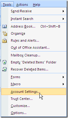 drop down menu - outlook