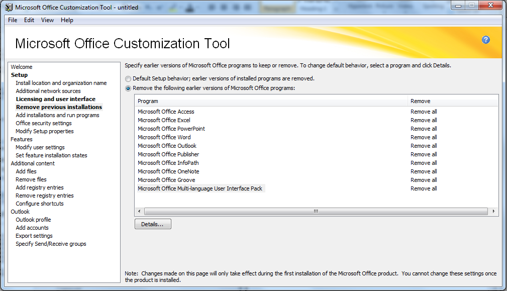 Customize Office 2010 Install