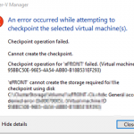 Hyper-V 2012 VM Checkpoint fails with access denied
