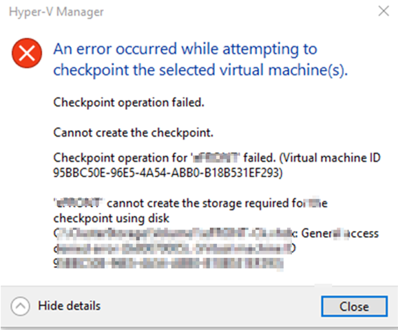 Checkpoint fails access denied