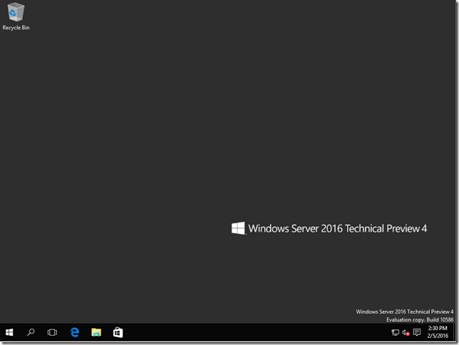 Windows Server 2016 desktop