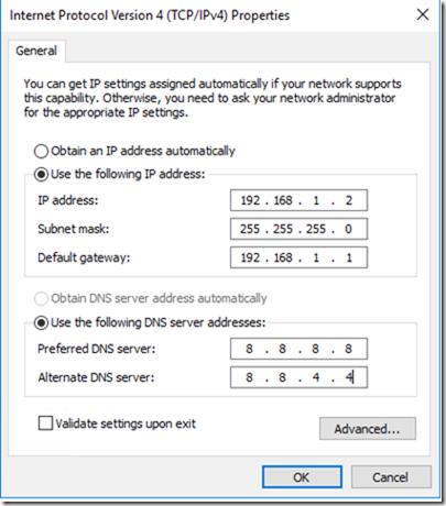 Set Windows Server 2016 with a static IP address
