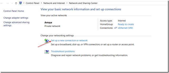 setup a new connection or network