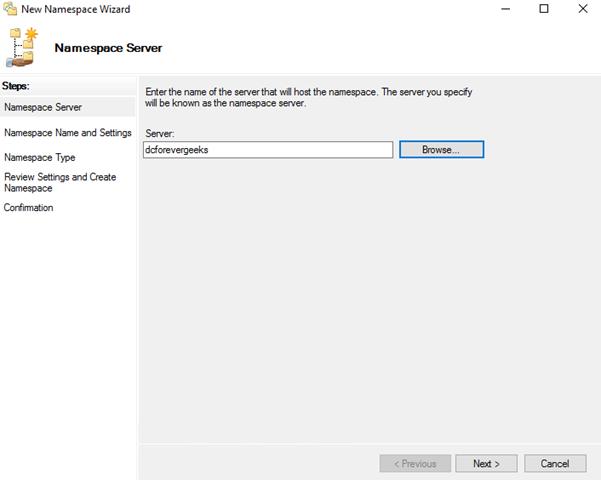 Select the Namespace server