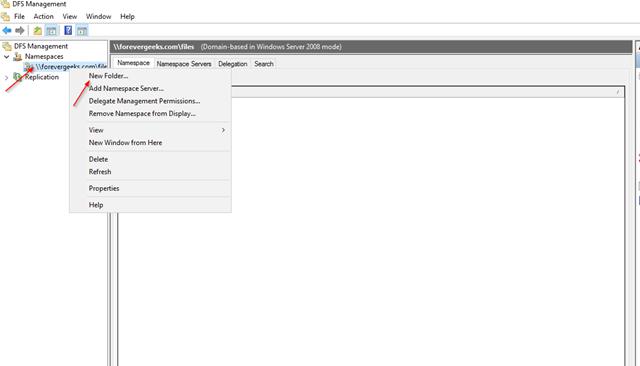 Create DFS folder