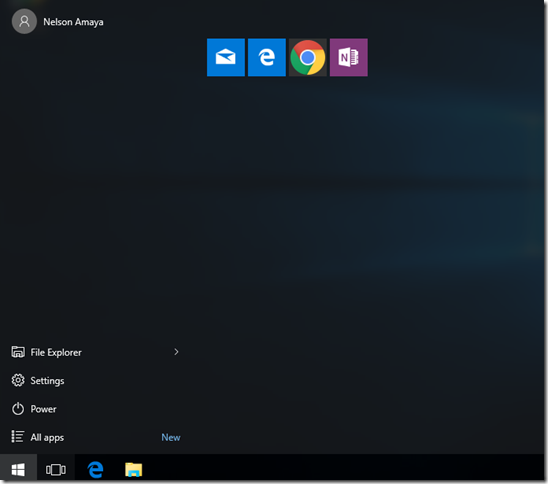 Start menu with almost no icons