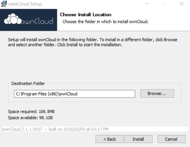 ownCloud choose the location