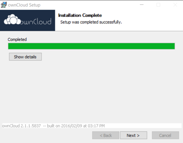 owncloud -Finish Installation