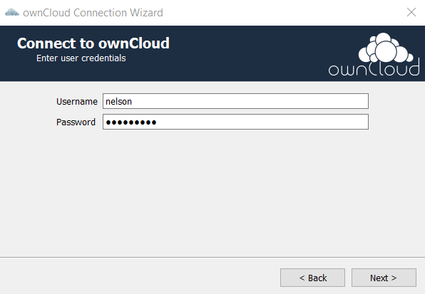 Enter ownCloud username and password