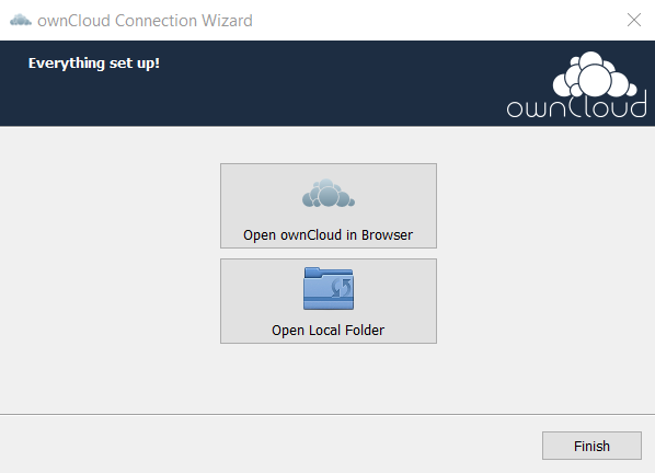ownCloud installation finish