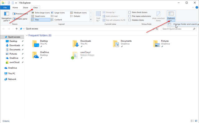 folder search options