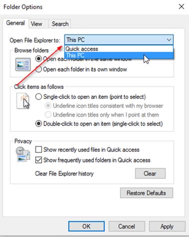 file explorer options