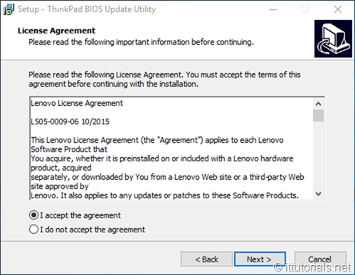 acept the agreement Lenovo update utility