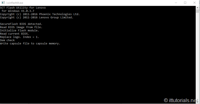 command prompt -- installation will continue at reboot