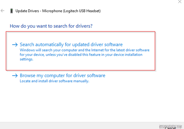 search for updated drivers automatically