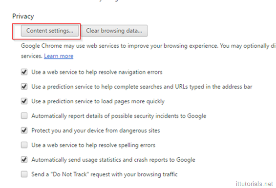 Privacy content settings in Google Chrome