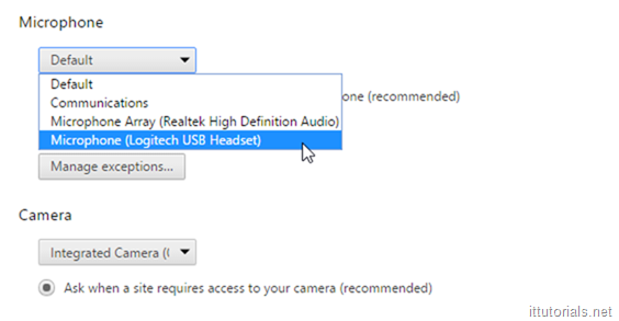 choose your headphones from microphone list