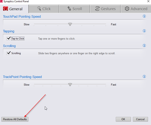 touchpad pointing speed
