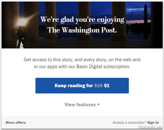 Washington Post Paywall Message