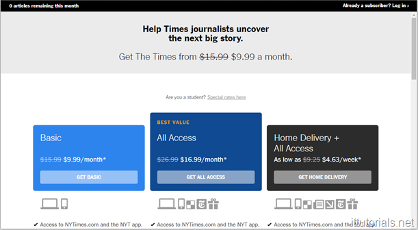 New York Times Paywall Popup
