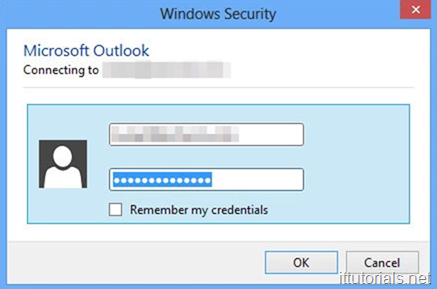 Outlook Username and password Prompt