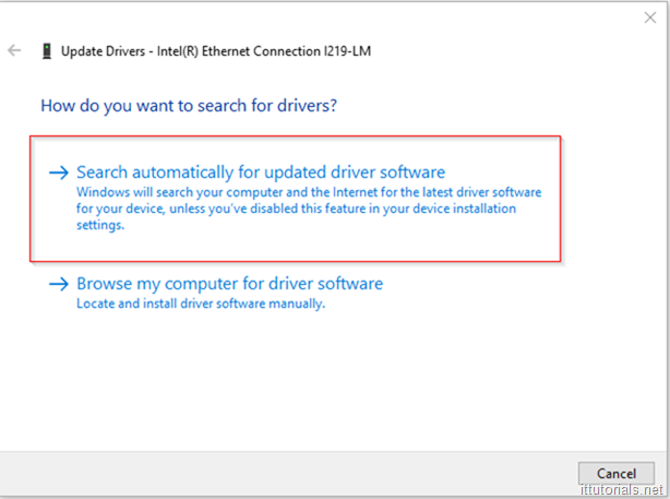 search for a driver prompt