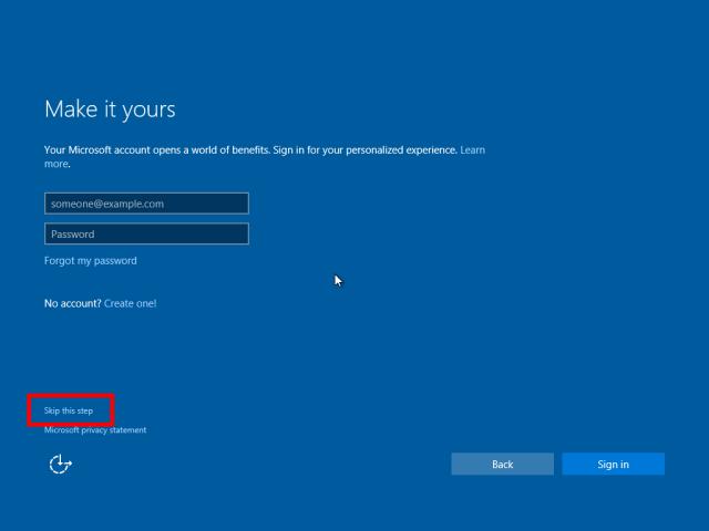 Windows 10 Initial setup